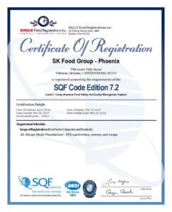 SQF Certificate 2017 Phoenix