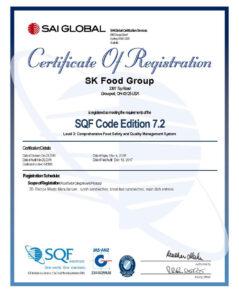 SQF Certificate Columbus